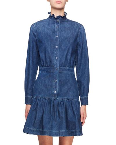Ruffle-Collar Denim Shirtdress