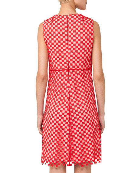 Sleeveless Round-Neck Guipure Sheath Dress