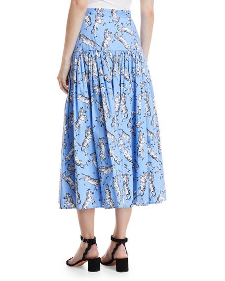 Zebra-Print Button-Front Cotton Poplin Peasant Skirt