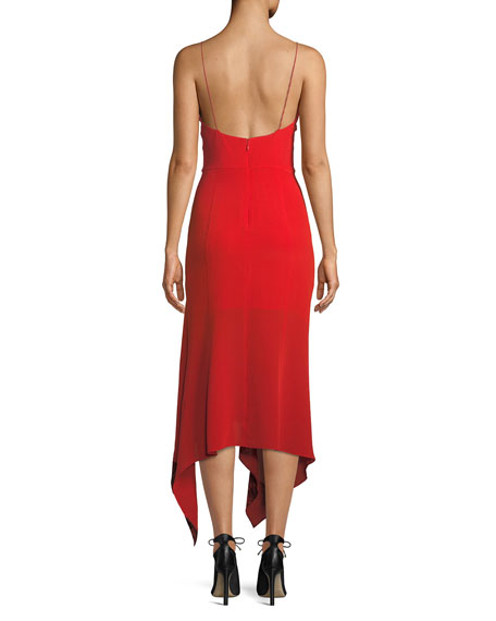 Sleeveless Silk Dress w/ Handkerchief Hem & Lace Details