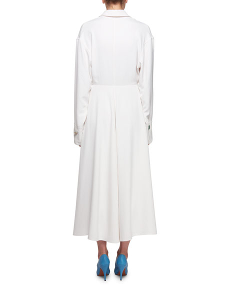 Long-Sleeve Silk Twill Midi Dress with Contrast Panel