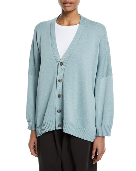 Hand-Loomed Mercerized Cotton Cardigan