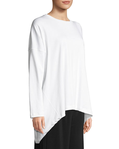 Long-Sleeve Round-Neck Pima Cotton T-Shirt