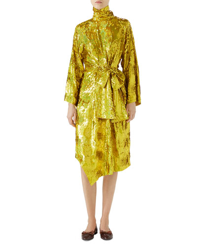 Long-Sleeve High-Neck Silk Georgette Super-Shine Embroidered Dress
