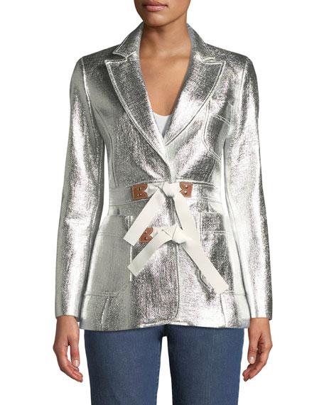Metallic Coated Tweed Jacket w/Fur Trim