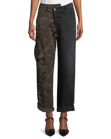 Split-Leg Camo Cargo & Denim Straight-Leg Pants