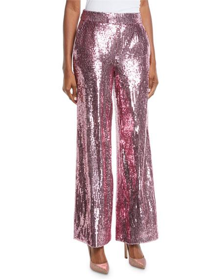 PRABAL GURUNG Mid-Rise Wide-Leg Sequin Pants in Pink