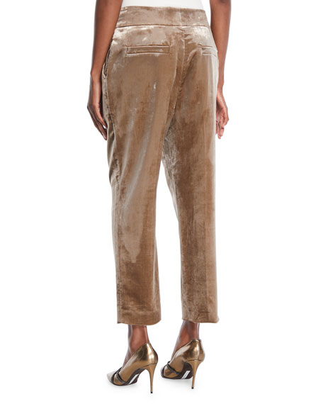 High-Rise Straight-Leg Crushed Velvet Pants