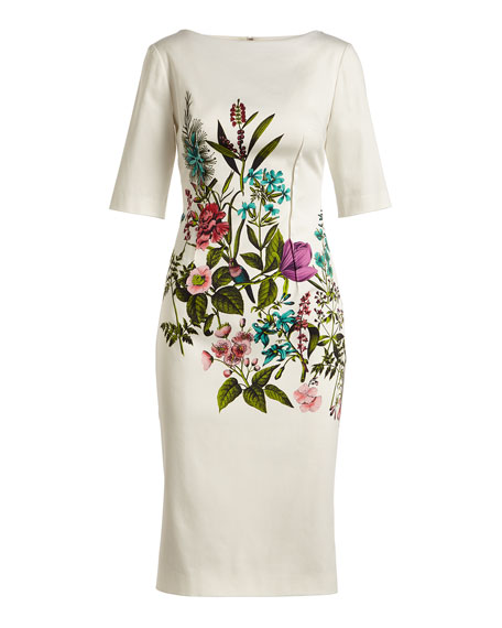 Claire Elbow-Sleeve Floral-Print Stretch-Cotton Dress