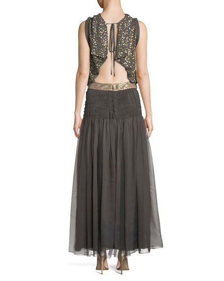 Sleeveless Tie-Waist Mixed-Media A-Line Evening Gown