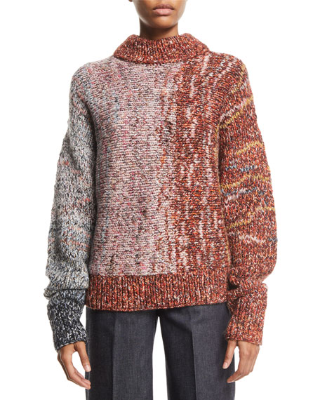 Crewneck Long-Sleeve Multi-Yarn Chunky-Knit Wool-Blend Sweater
