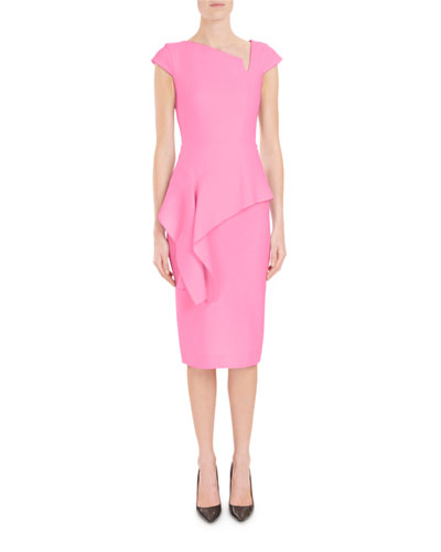 Asymmetric-Neck Cap-Sleeve Peplum Fitted Crepe Cocktail Dress