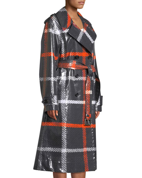 Double-Breasted Belted Windowpane Trench Coat