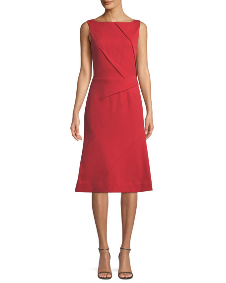 Image 1 of 1: Sleeveless Pleated Front Midi Dress