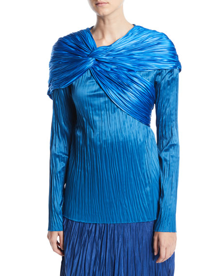 Pleated Satin Twist Drape Long-Sleeve Top