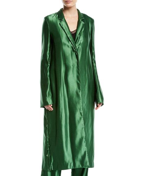 2389539859 Jason Wu Liquid Satin Single-Breasted Long Coat