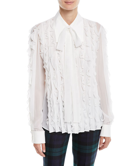 Long-Sleeve Button-Down Ruffled Silk Blouse
