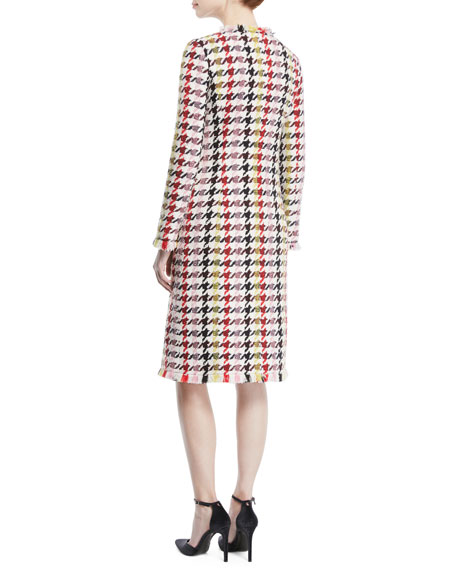 Multicolor Tweed Zip-Front A-Line Coat