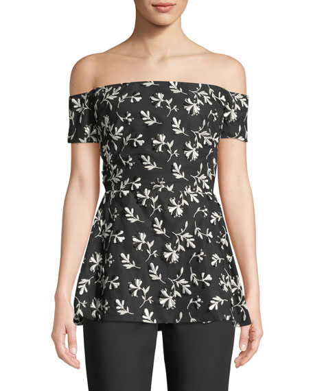 Lela Rose Off-the-Shoulder Floral-Embroidered Top with Bow Back