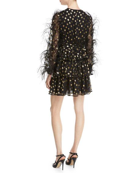 Jewel-Neck Ostrich-Feather Long-Sleeve Metallic-Dot Cocktail Dress