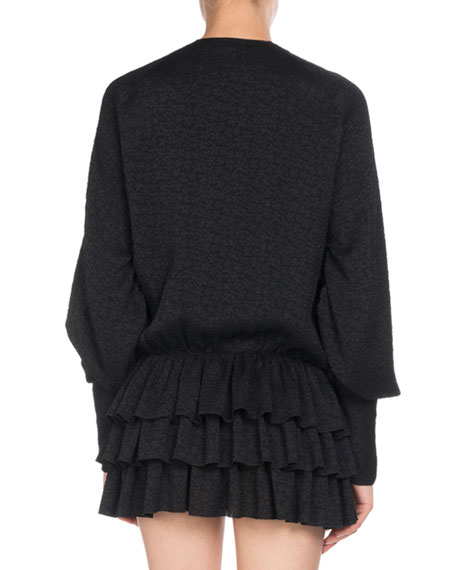 Long-Sleeve Tonal Floral-Print Ruffle Tiered Mini Dress