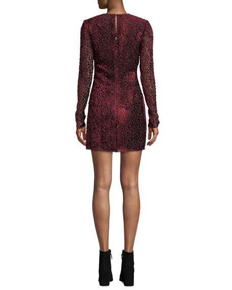 Jewel-Neck Long-Sleeve Leopard-Devore Mini Cocktail Dress