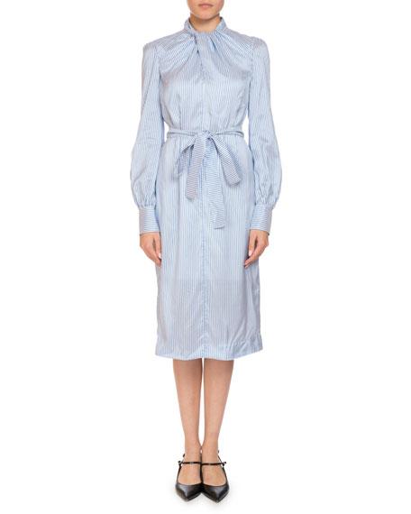 Amelia Twist-Neck Long-Sleeve Striped Silk Midi Shirtdress