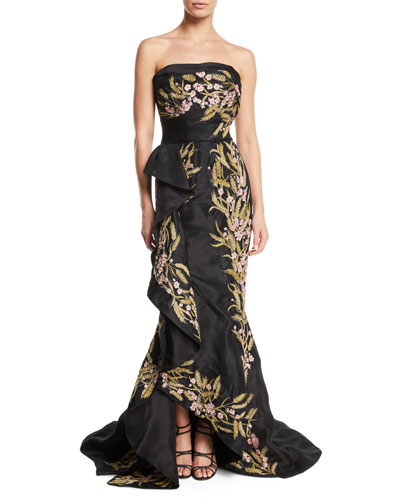 Strapless Floral-Embroidered Cocktail Dress with Sculptural Ruffle