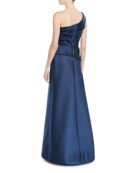 One-Shoulder Sleeveless Gathered Duchess Satin Evening Gown