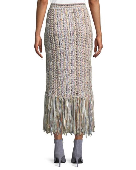 Hand-Knit Tweed Midi Skirt w/ Fringe