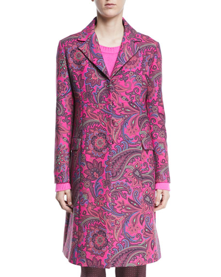 Paisley Jacquard Single-Breasted Topper Coat