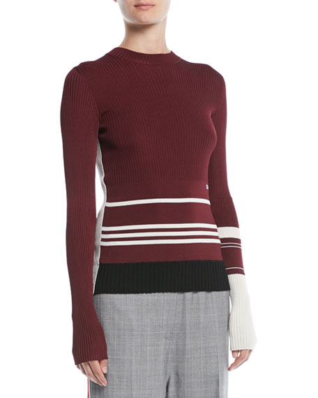 Crewneck Long-Sleeve Striped Knit Sweater