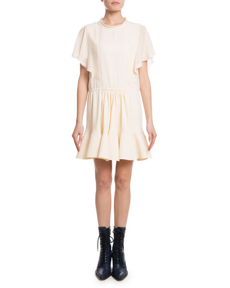 Flutter-Sleeve Drawstring-Waist Light-Cady Short Dress