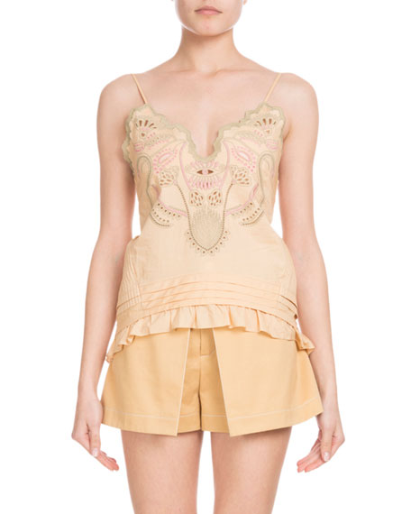 Sleeveless Thin-Strap Cotton Voile Top w/ Blossom Embroidery