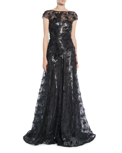 Cap-Sleeve Fitted-Bodice A-Line Lace Evening Gown w/ Metallic Lining