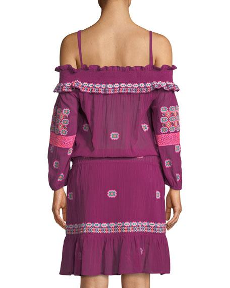 Sofia Cold-Shoulder Long-Sleeve Embroidered Cotton Voile Short Dress