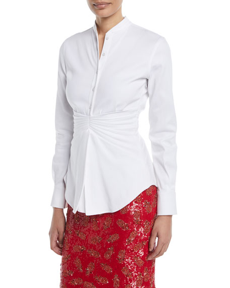 Pleated-Waist Button-Front Long-Sleeve Cotton Shirt