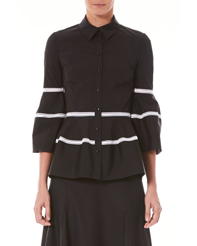 Bell-Sleeve Button-Front Shirt with Lace Stripes
