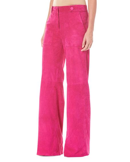 Straight-Leg Suede Pants