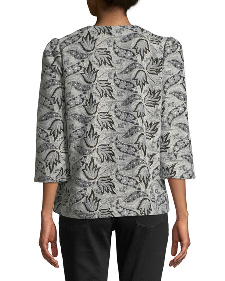 3/4-Sleeve Button-Front Embroidered Jacquard Evening Jacket