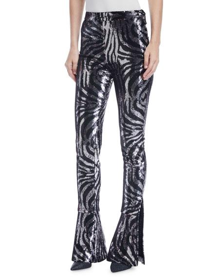 Sequin-Zebra Skinny-Leg Pants
