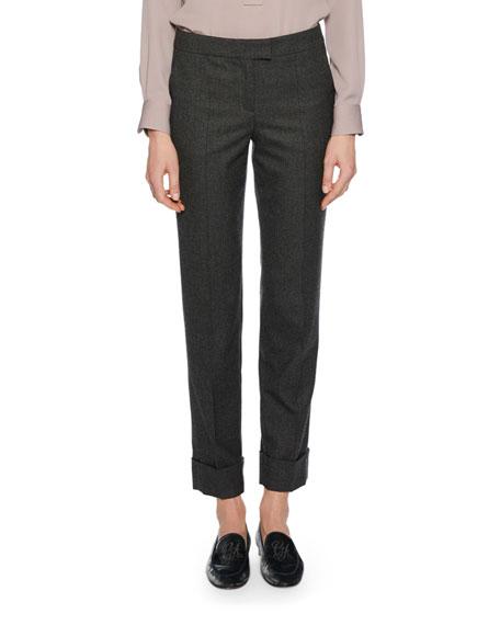 Cashmere Straight-Leg Cuffed Pants