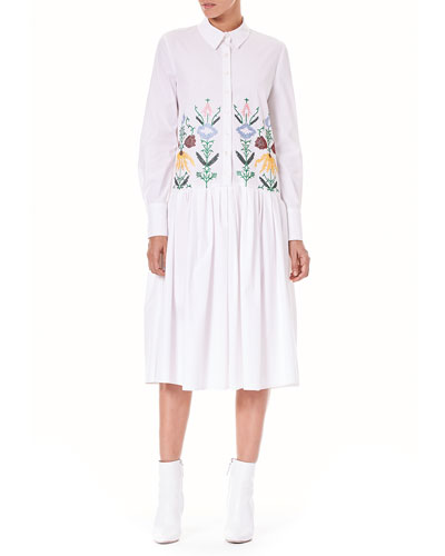 Button-Down Long-Sleeve Embroidered Midi Poplin Shirtdress