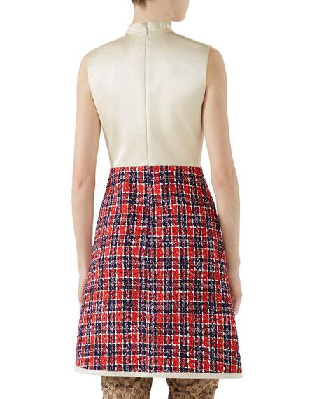 Sleeveless A-Line Dress w/ Tweed Skirt & Satin Bodice