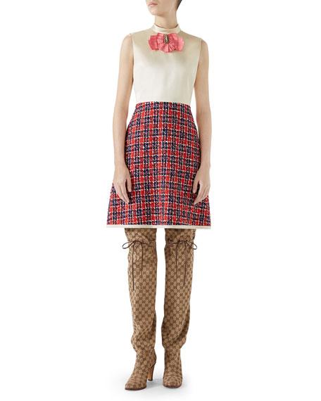 Sleeveless A-Line Dress W/ Tweed Skirt & Satin Bodice in Neutrals