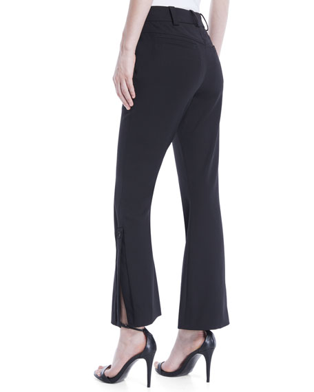 Mid-Rise Flared-Leg Stretch-Wool Cropped Pants
