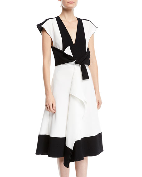 Proenza Schouler V-Neck Sleeveless Colorblocked Dress w/