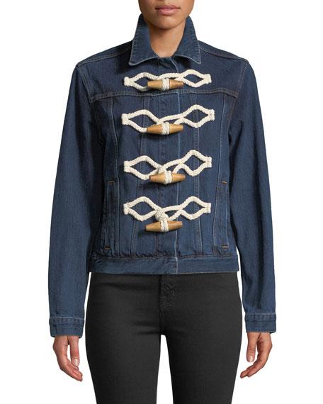 Toggle-Front Selvedge Cotton Denim Jacket
