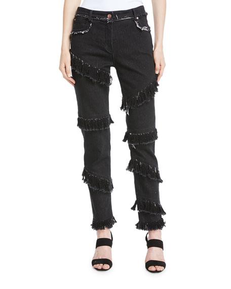 Diagonal-Fringe Slim Straight-Leg Jeans
