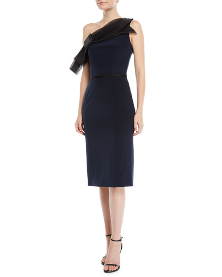 ATELIER CAITO FOR HERVE PIERRE One-Shoulder Organza-Bow Silk Crepe Sheath Cocktail Dress in Black/Blue